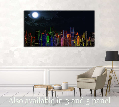 Modern City Lit by Colorful Light Effects at Night 3D Illustration №2994 Ready to Hang Canvas Print