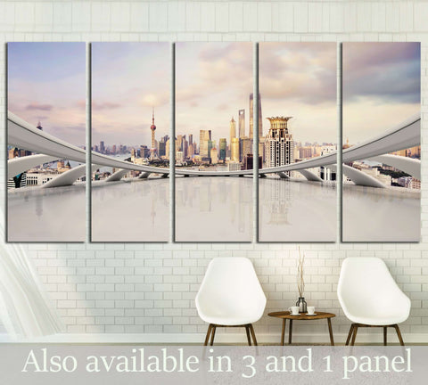 modern city skyline,traffic and cityscape in Shanghai, China №1522 Ready to Hang Canvas Print
