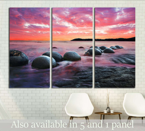 Moeraki Boulders on the Koekohe beach, New Zealand. Sunset and long exposure №2865 Ready to Hang Canvas Print