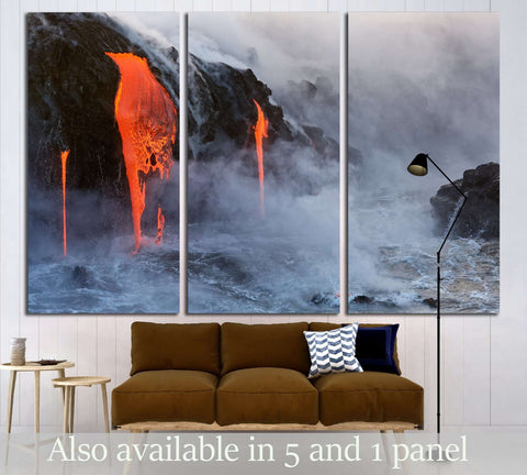 Molten Lava dripping into the ocean №3205 Ready to Hang Canvas Print