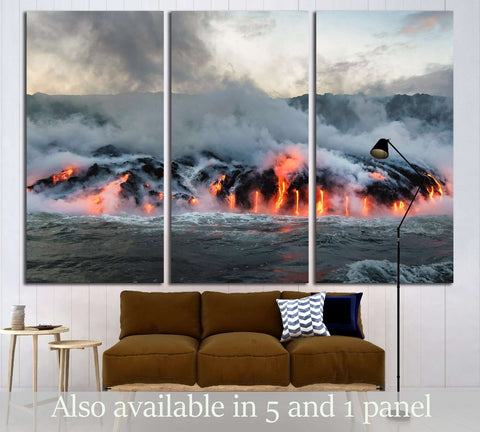 Molten lava flowing into the Pacific Ocean on Big Island of Hawaii №3201 Ready to Hang Canvas Print
