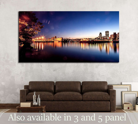 Montreal city and water its channel view during sunset №2967 Ready to Hang Canvas Print