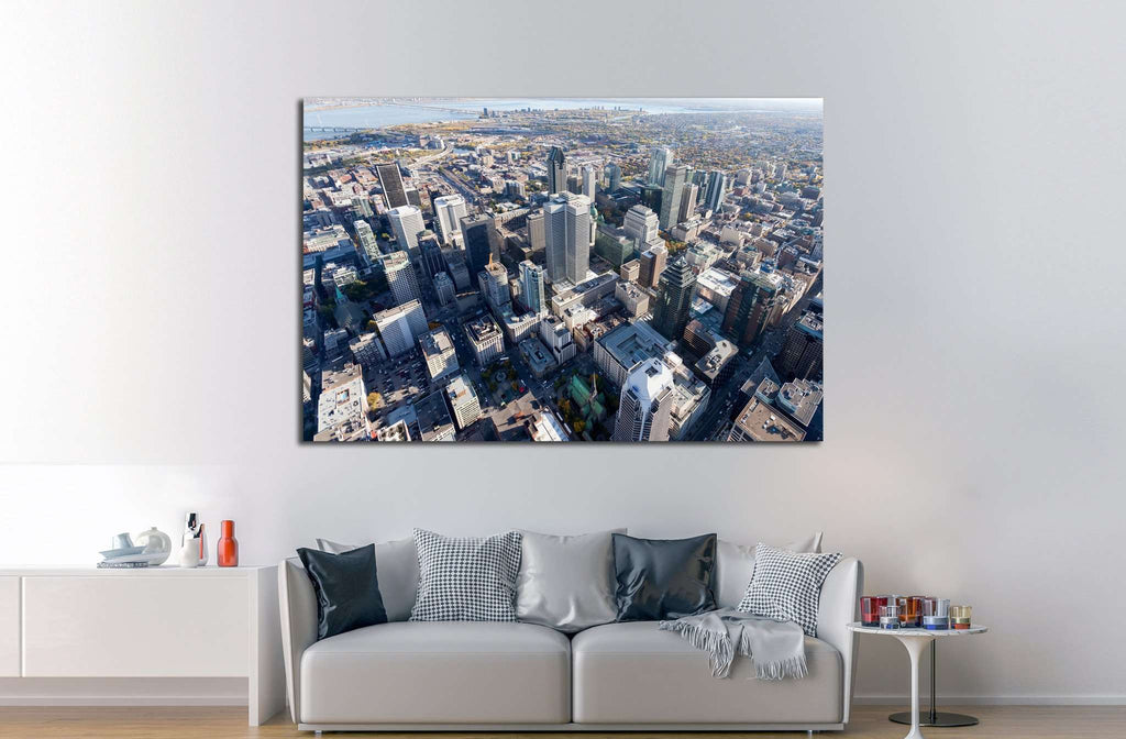 Montreal city center and its landmark buildings, Canada №2082 Ready to Hang Canvas Print