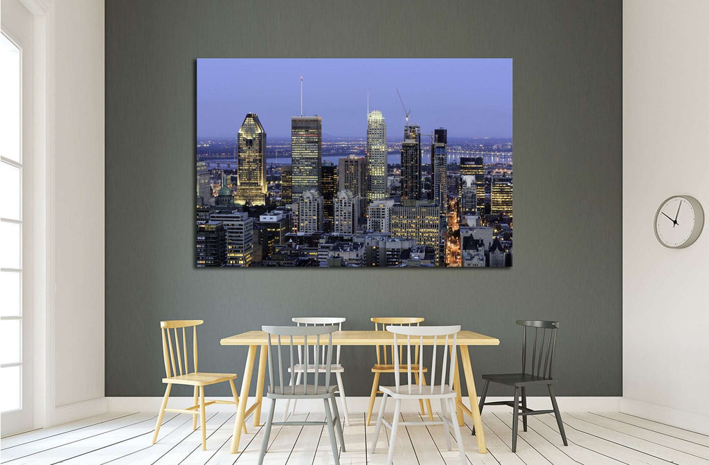 Montreal Downtown at Dusk, Canada №2085 Ready to Hang Canvas Print