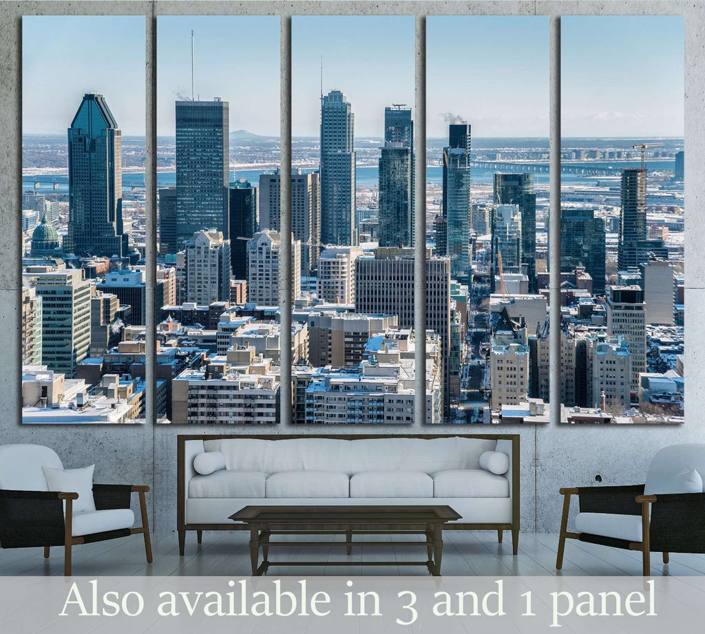 Montreal Skyline from Kondiaronk Belvedere Mont-Royal in Winter №2025 Ready to Hang Canvas Print