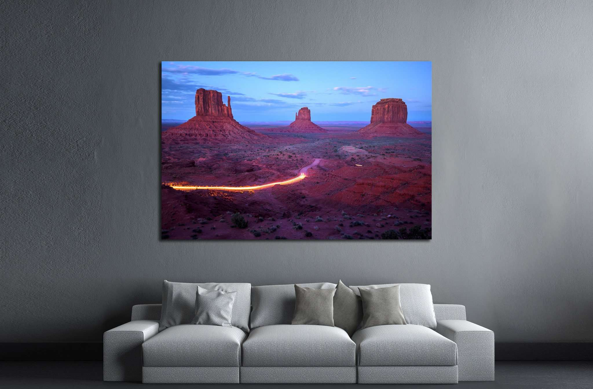 Monument Valley at dusk after sunset, Utah border, Arizona, USA №2000 Ready to Hang Canvas Print