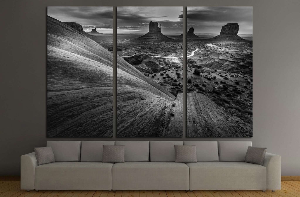 Monument Valley Black and White Famous American Landscapes №1992 Ready to Hang Canvas Print
