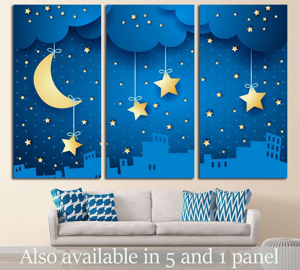 moon and skyline №735 Ready to Hang Canvas Print