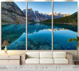 Moraine lake panorama in Banff National Park, Alberta, Canada №2009 Ready to Hang Canvas Print