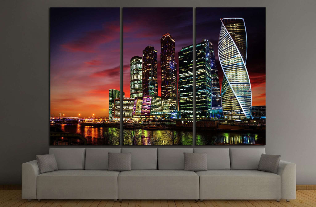 Moscow International Business Center at night, Russia №1541 Ready to Hang Canvas Print