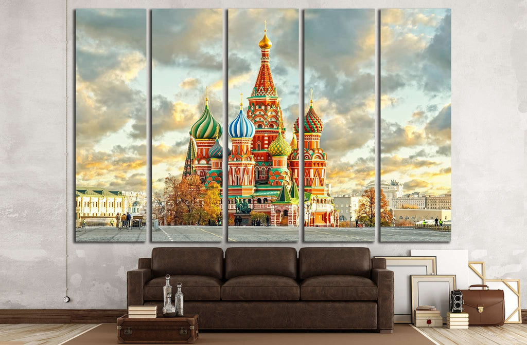 Moscow,Russia,Red square,view of St. Basil's Cathedral №1521 Ready to Hang Canvas Print