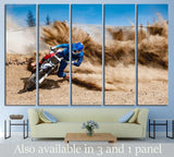 Motocross rider creates a large cloud of dust and debris №1878 Ready to Hang Canvas Print