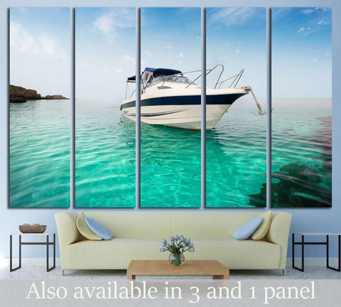 Motor boat on the beach №1411 Ready to Hang Canvas Print