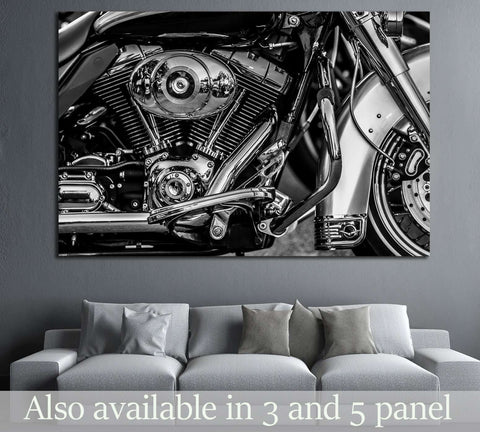 Motorbike engine in black and white №1894 Ready to Hang Canvas Print