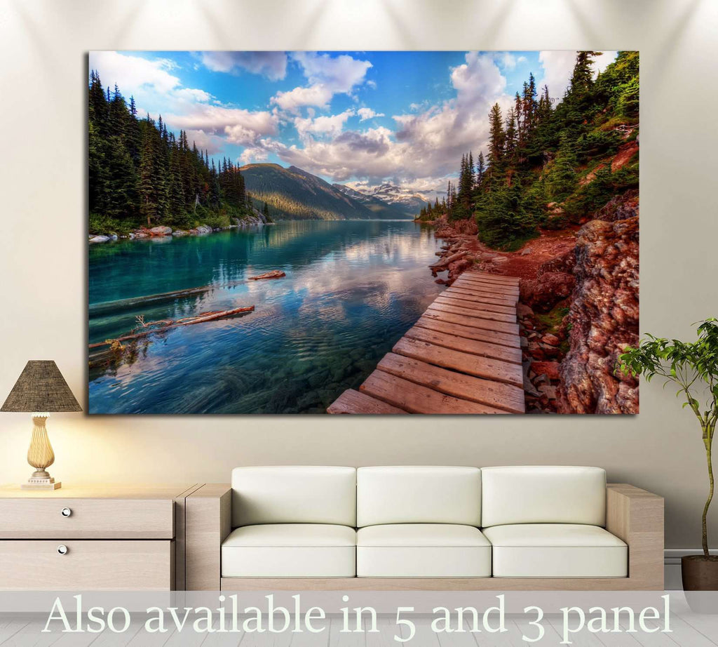 Mountain lake and evergreen trees №649 Ready to Hang Canvas Print