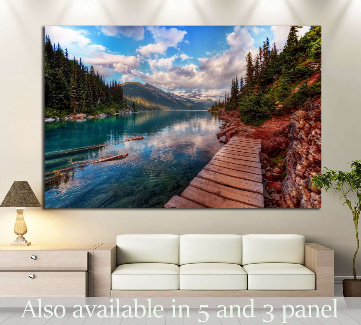 Mountain Lake And Evergreen Trees №649 Ready To Hang