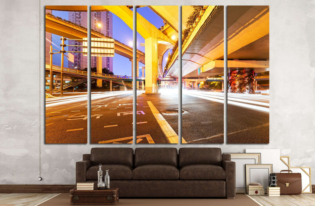 moving car with blur light through city at night №2169 Ready to Hang Canvas Print