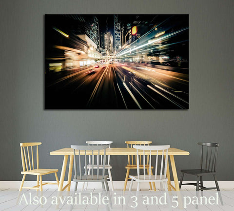 Moving through modern city street with illuminated skyscrapers. Hong Kong №2184 Ready to Hang Canvas Print