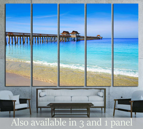 Naples Pier and beach in florida USA sunny day №1904 Ready to Hang Canvas Print