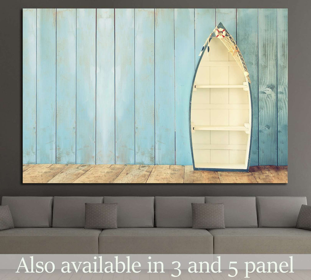 nautical boat shape shelves on wooden table №1403 Ready to Hang Canvas Print
