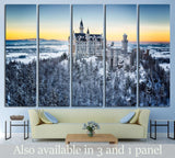 Neuschwanstein Castle at sunset in winter landscape. Germany №1793 Ready to Hang Canvas Print
