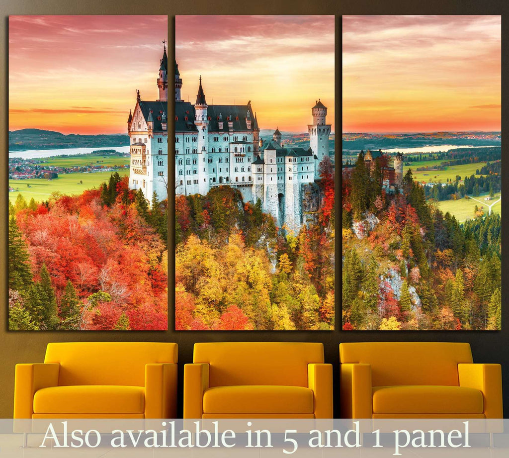 Neuschwanstein castle, Palace situated in Bavaria, Germany №1806 Ready to Hang Canvas Print