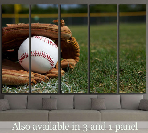 New Baseball in a Glove in the Outfield №2124 Ready to Hang Canvas Print