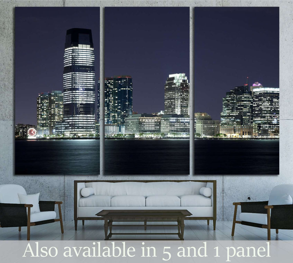 New Jersey and river Hudson in the night №1672 Ready to Hang Canvas Print