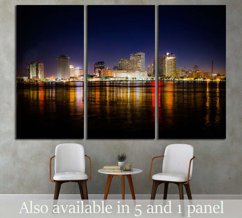 New Orleans Skyline at Night №1700 Ready to Hang Canvas Print