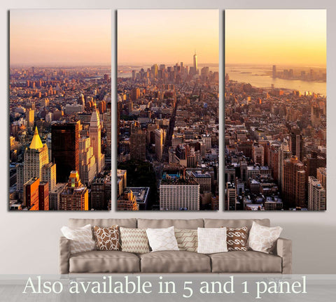 New York City at sunset №2992 Ready to Hang Canvas Print