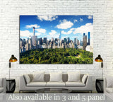 New York City, central park view to manhattan with park at sunny day №2273 Ready to Hang Canvas Print