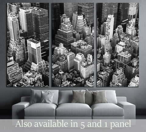 New York City Manhattan aerial view black and white №3041 Ready to Hang Canvas Print