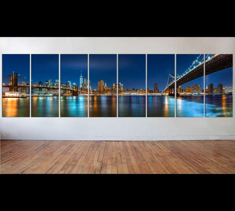 New York city night panorama XXL №52 Ready to Hang Canvas Print