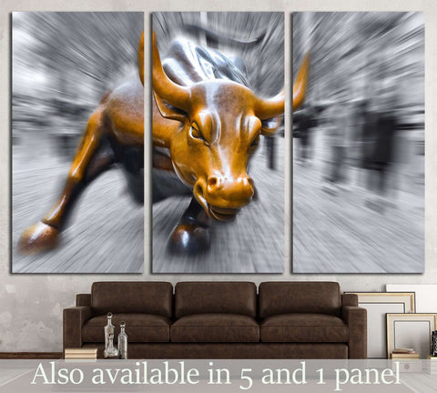 NEW YORK CITY, NY, Charging Bull sculptur №1943 Ready to Hang Canvas Print