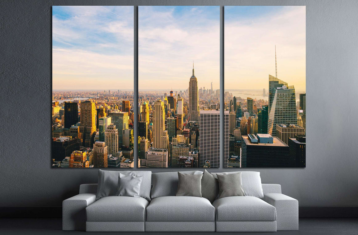 New York City Skyline At Sunset №3014 Ready To Hang Canvas