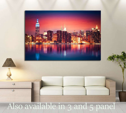New York City skyline of Manhattan with vibrant night colors №2948 Ready to Hang Canvas Print