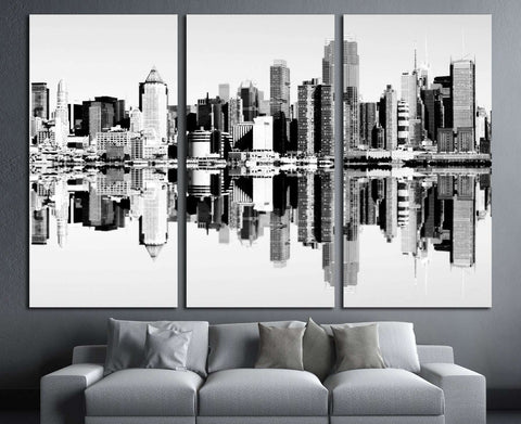 new york city skyline over the hudson river. black and white skyline mirror reflection №2586 Ready to Hang Canvas Print