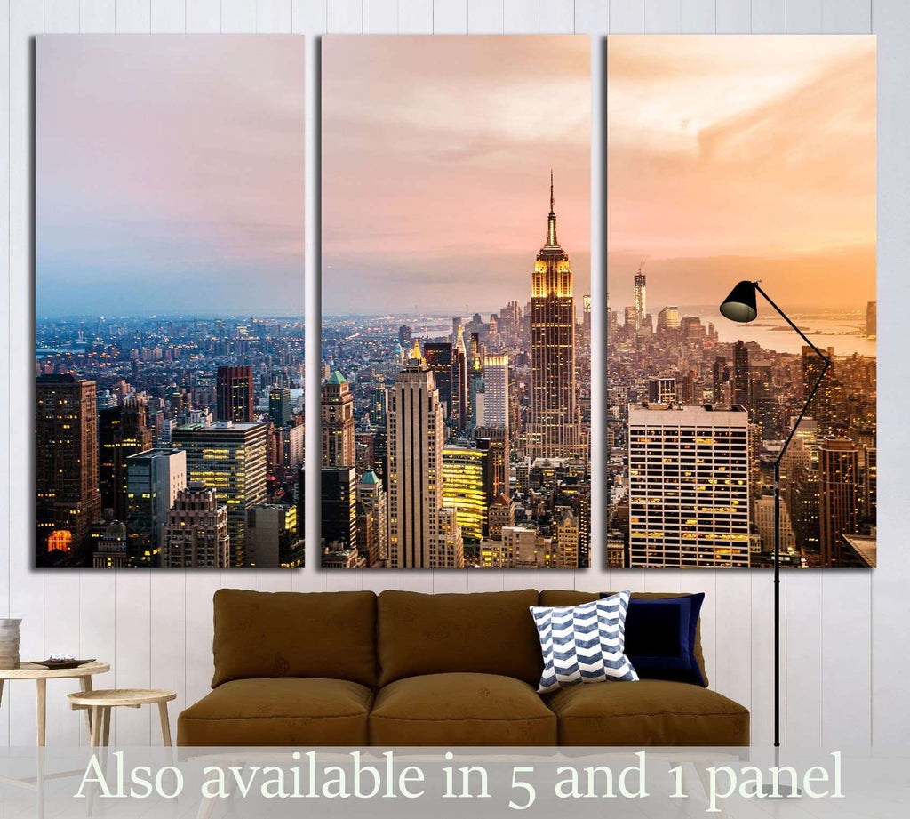 New York City skyline with urban skyscrapers at sunset №1937 Ready to Hang Canvas Print