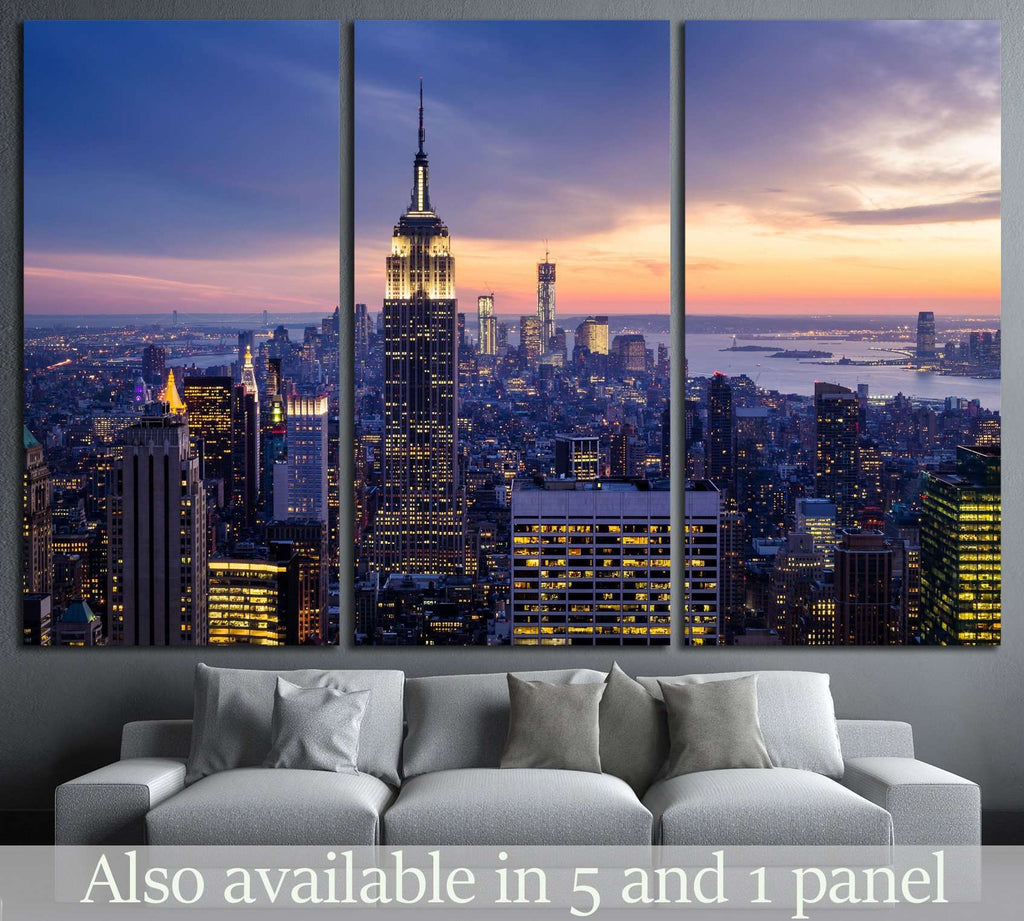 New York City with skyscrapers at sunset №2037 Ready to Hang Canvas Print