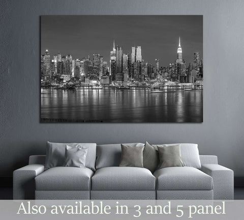 New York City with skyscrapers illuminated over Hudson River panorama in black and white №2660 Ready to Hang Canvas Print