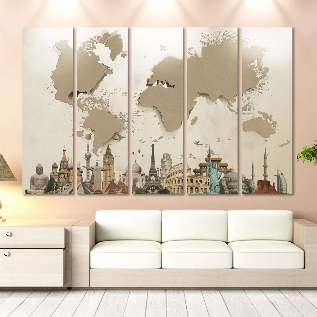 Beige 3d Effect World Map Ready To Hang Canvas Print 702 Canvas