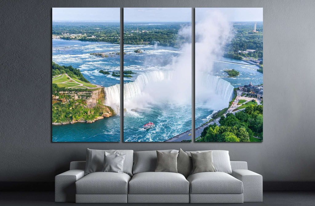 Niagara Falls Aerial View, Canadian Falls, Canada №2006 Ready to Hang Canvas Print