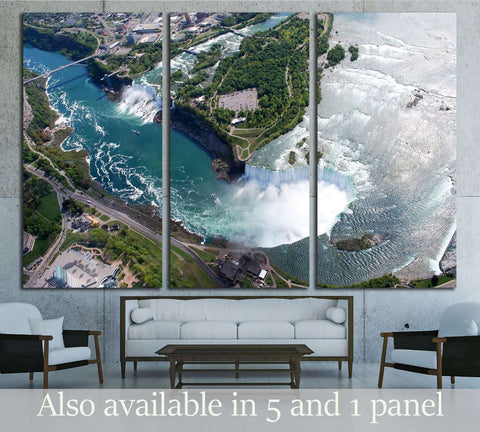 Niagara Falls American and Canadian side above view from Helicopter №3212 Ready to Hang Canvas Print