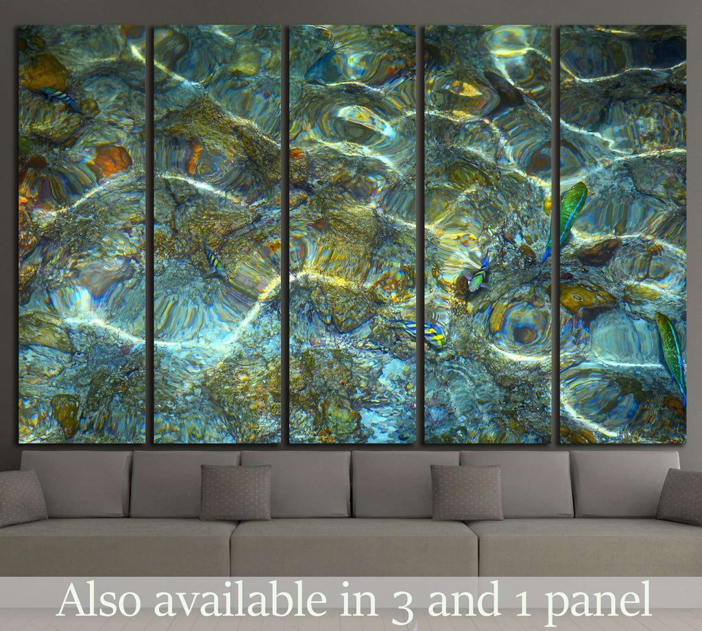 Nice water ripples with a fish №1391 Ready to Hang Canvas Print