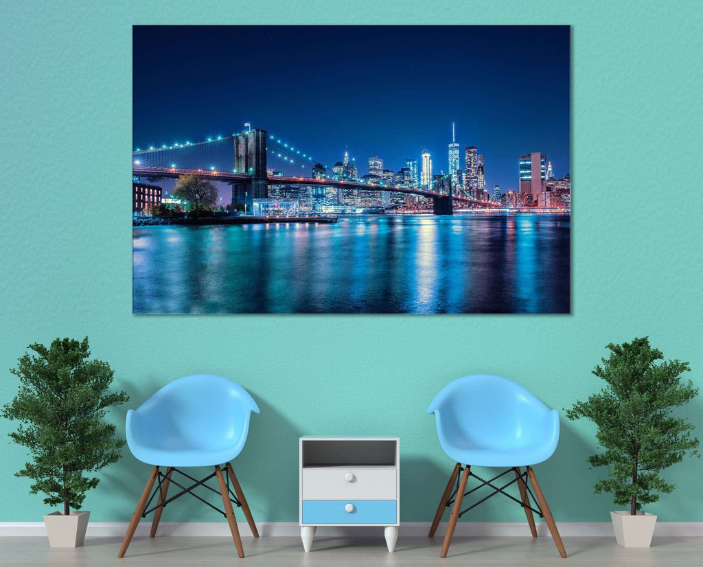 Night Brooklyn Bridge №3018 Ready to Hang Canvas Print
