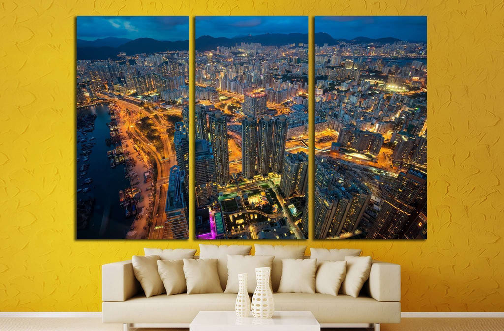 Night cityscape from top of building №1367 Ready to Hang Canvas Print