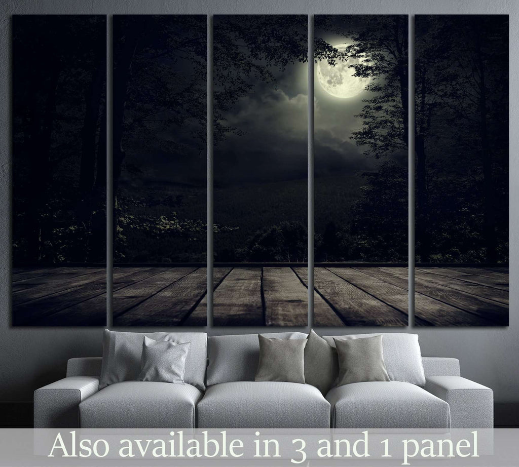 Night mountains landscape with moon light №1316 Ready to Hang Canvas Print