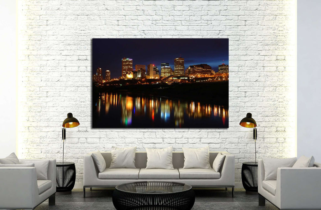 Night scene of the saskatchewan river valley and downtown in city edmonton, alberta, canada №2137 Ready to Hang Canvas Print