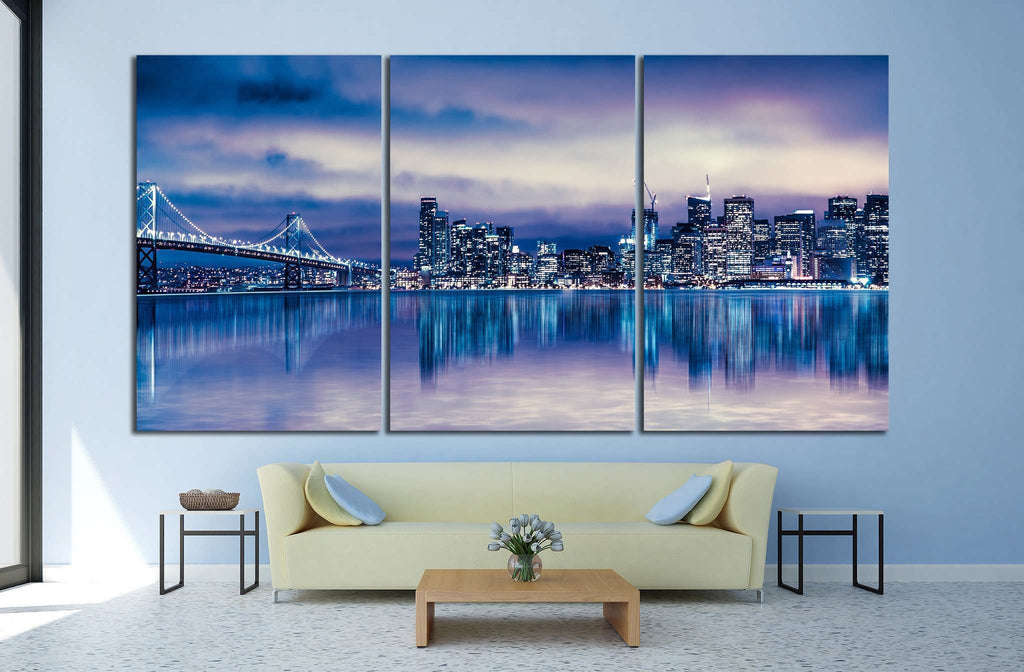 Night view of beautiful San Francisco California №1118 Ready to Hang Canvas Print