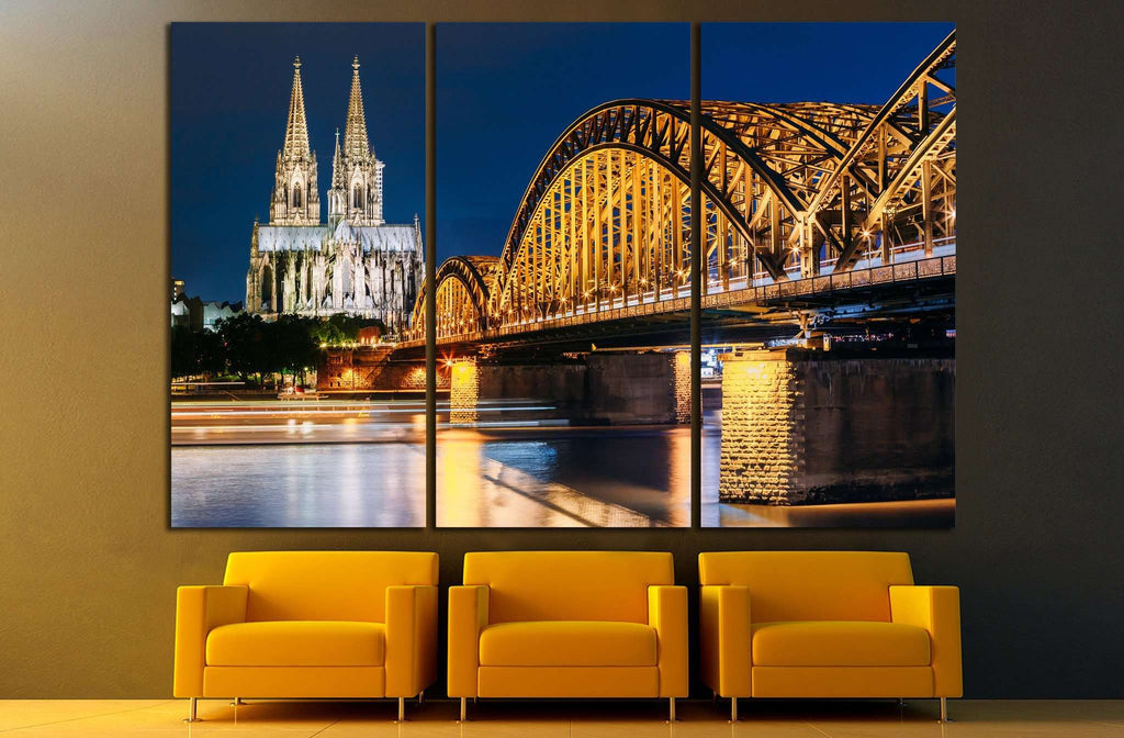 Night View Of Cologne Cathedral №859 Ready to Hang Canvas Print